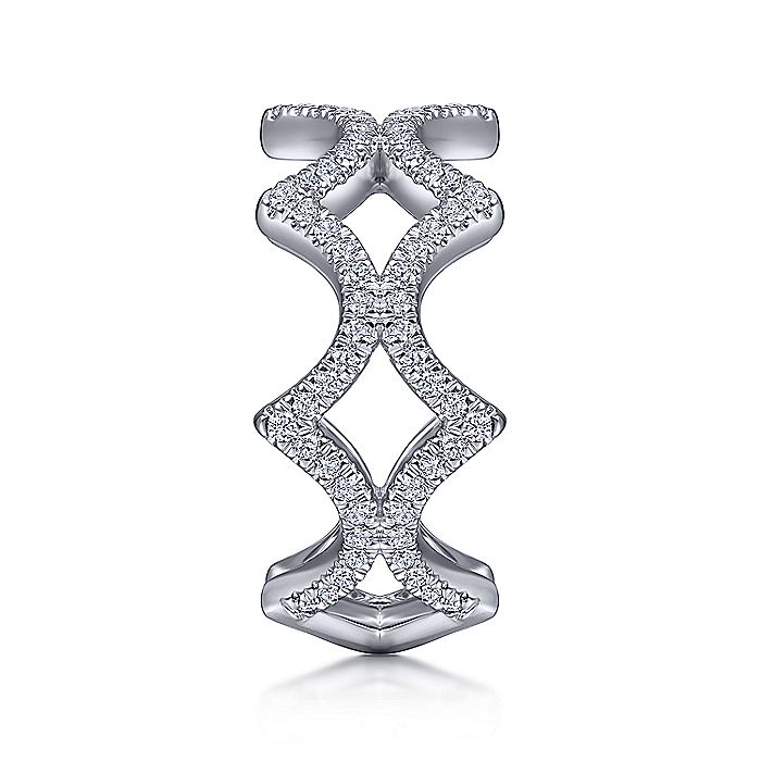 14K White Gold Open Triangular Diamond Ring