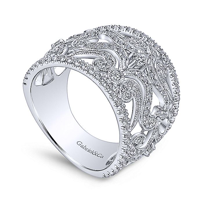 14K White Gold Openwork Diamond Wide Band Ring