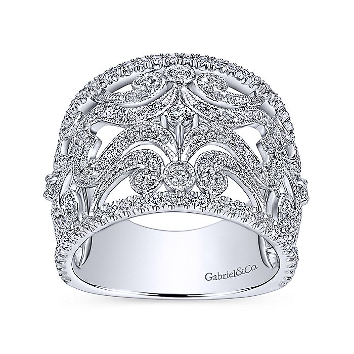 14K White Gold Openwork Diamond Wide Band Ring