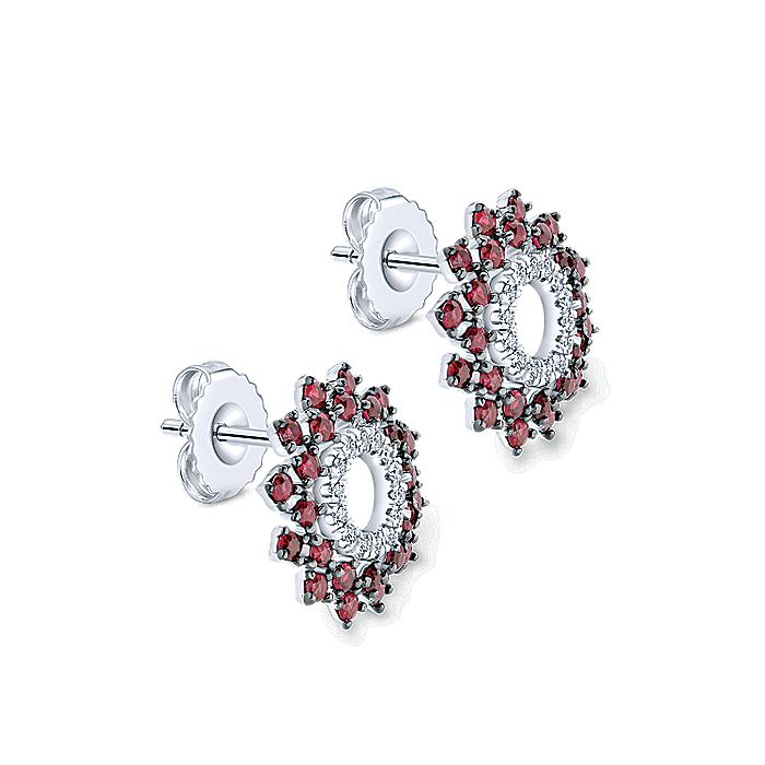 14K White Gold Openwork Diamond and Ruby Stud Earrings