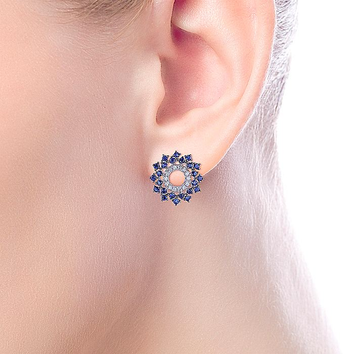 14K White Gold Openwork Diamond and Sapphire Stud Earrings