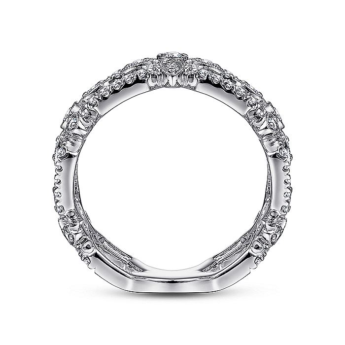 14K White Gold Openwork Hexagonal Diamond Ring