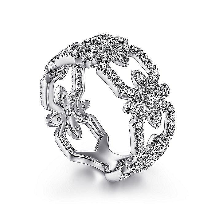 14K White Gold Openwork Hexagonal Diamond Ring