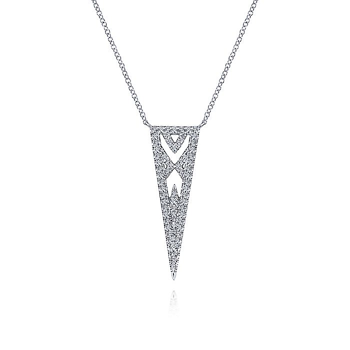 14K White Gold Openwork Triangular Diamond Pendant Necklace