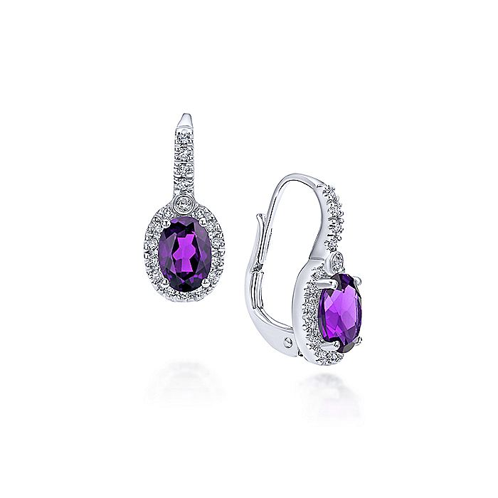 14K White Gold Oval Amethyst and Diamond Halo Drop Earrings