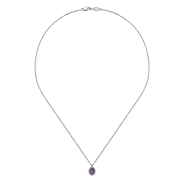 14K White Gold Oval Amethyst and Diamond Halo Pendant Necklace
