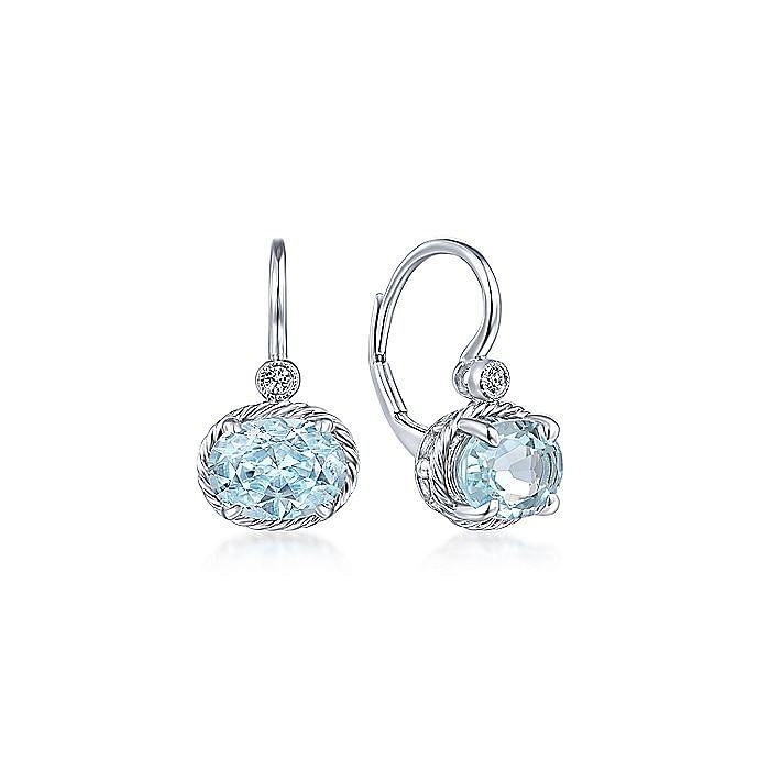 14K White Gold Oval Aquamarine and Diamond Leverback Earrings