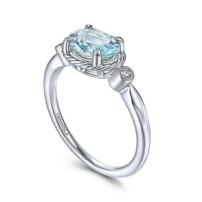 14K White Gold Oval Aquamarine and Diamond Three Stone Ring