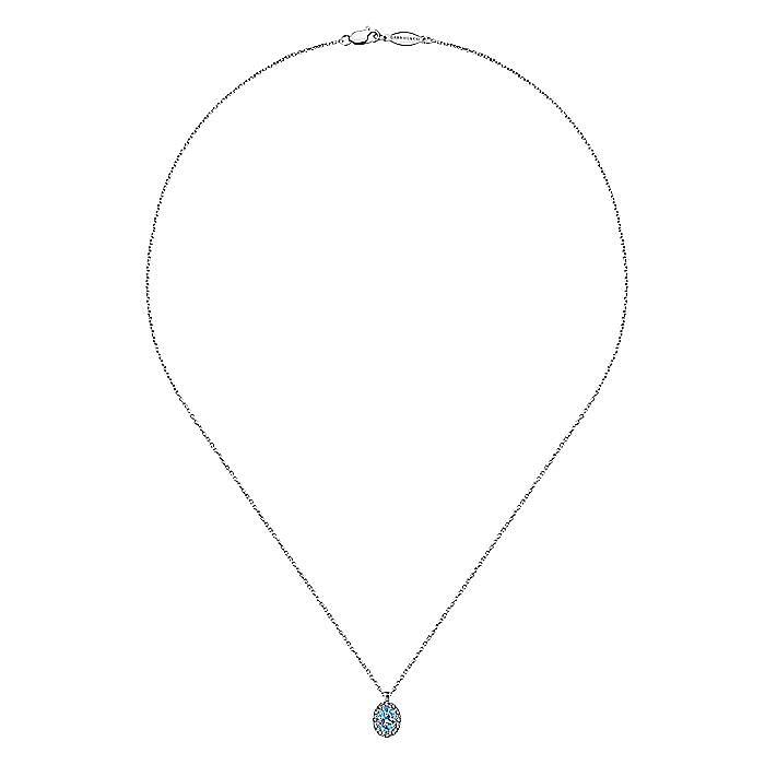 14K White Gold Oval Blue Topaz and Diamond Halo Pendant Necklace