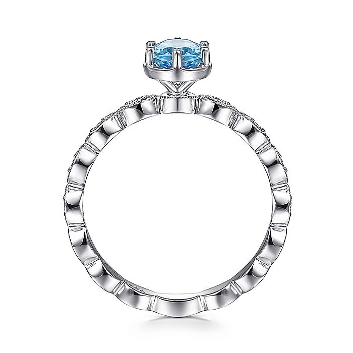 14K White Gold Oval Blue Topaz and Diamond Shank Ring