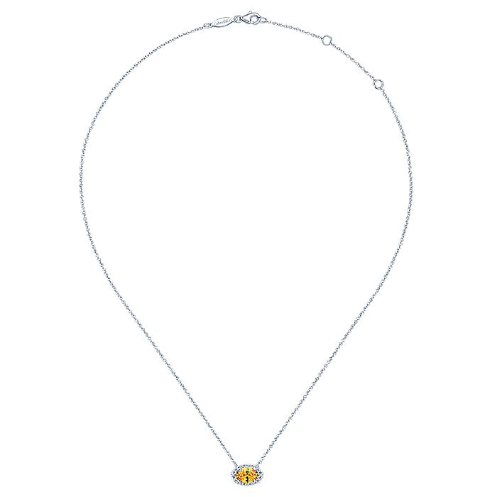 14K White Gold Oval Citrine and Diamond Halo Pendant Necklace