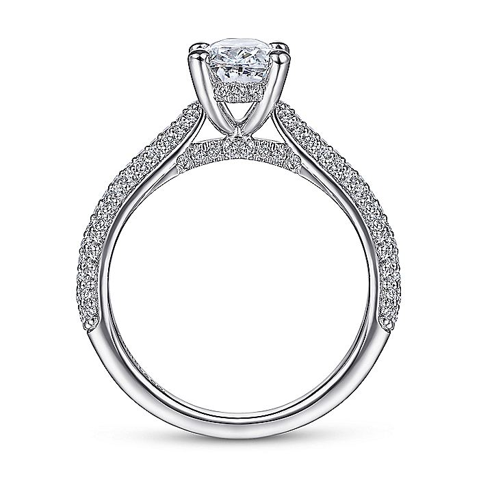 14K White Gold Oval Diamond Engagement Ring