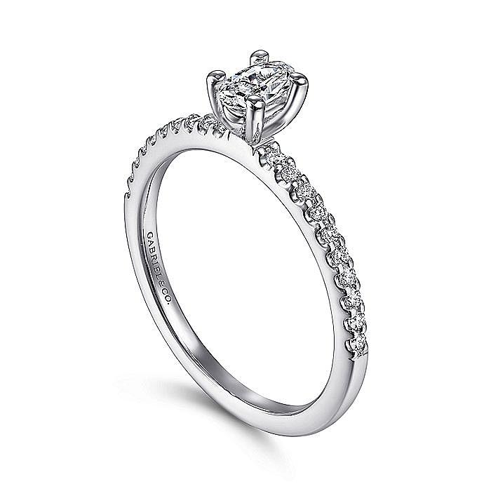 14K White Gold Oval Diamond Engagement Ring