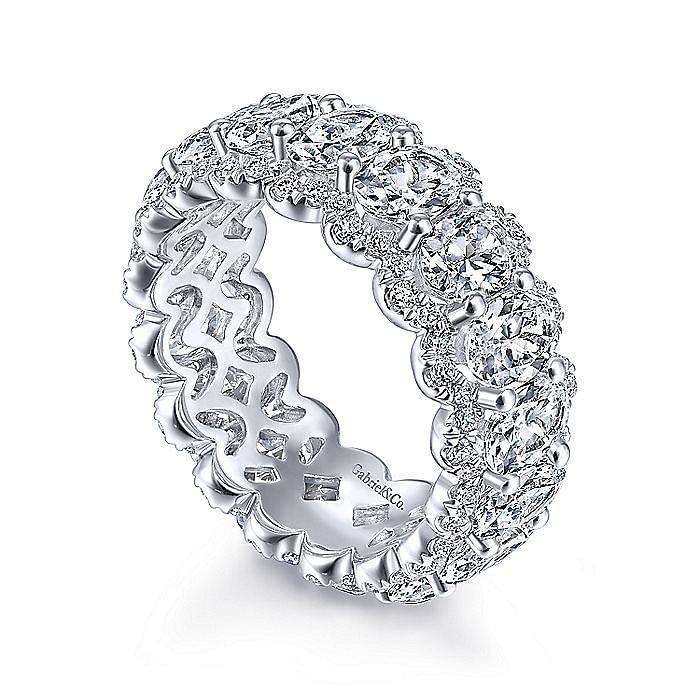 14K White Gold Oval Diamond Halo Eternity Band