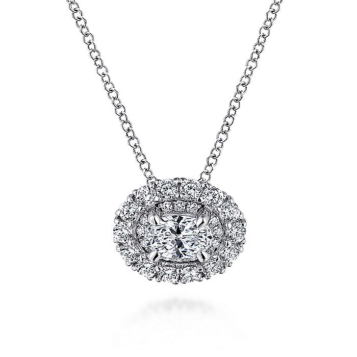 14K White Gold Oval Diamond Pendant Necklace