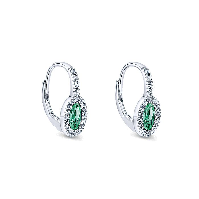 14K White Gold Oval Emerald and Diamond Halo Leverback Earrings