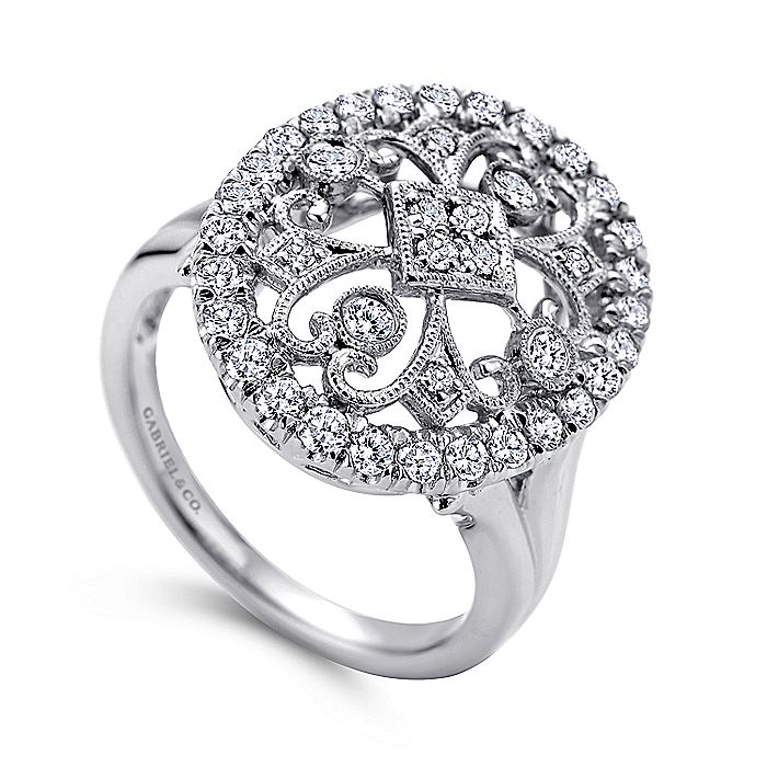 14K White Gold Oval Filligree Diamond Ring