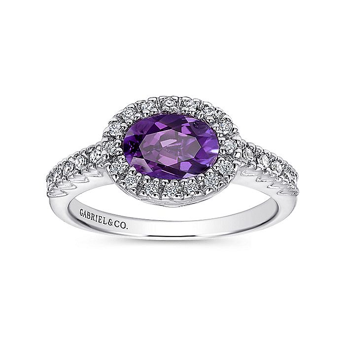 14K White Gold Oval Halo Amethyst and Diamond Ring