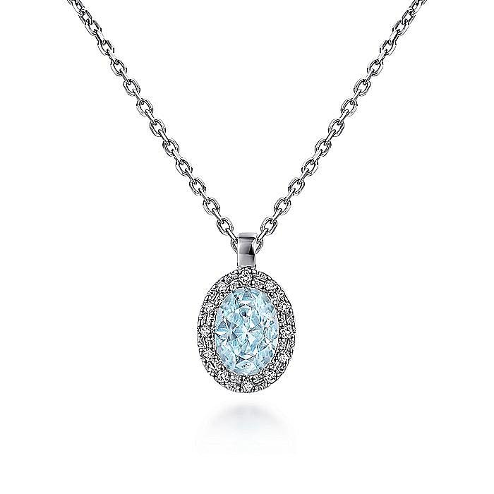 14K White Gold Oval Halo Aquamarine and Diamond Pendant Necklace