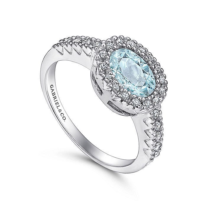 14K White Gold Oval Halo Aquamarine and Diamond Ring