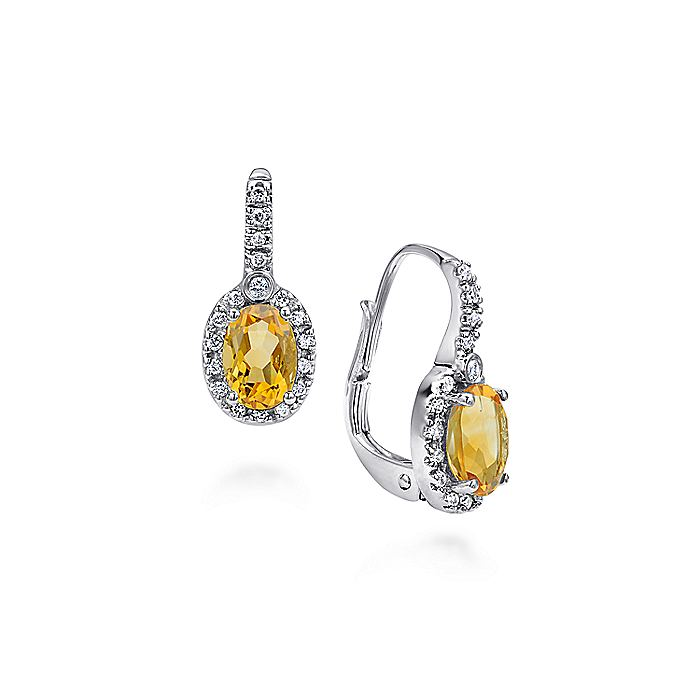 14K White Gold Oval Halo Citrine and Diamond Earrings