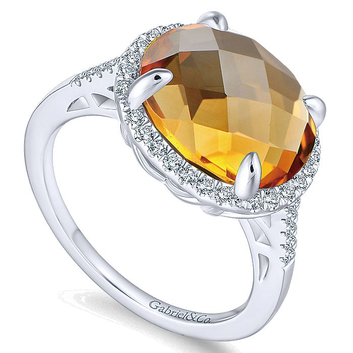 14K White Gold Oval Halo Citrine and Diamond Ring