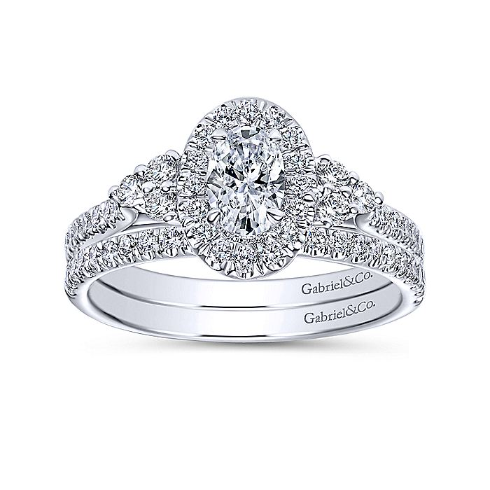 14K White Gold Oval Halo Complete Diamond Engagement Ring