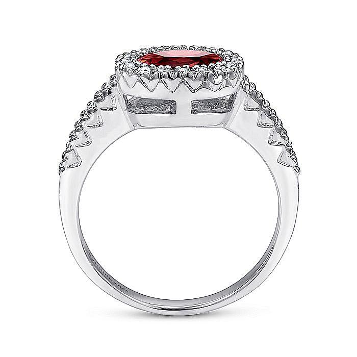 14K White Gold Oval Halo Garnet and Diamond Ring