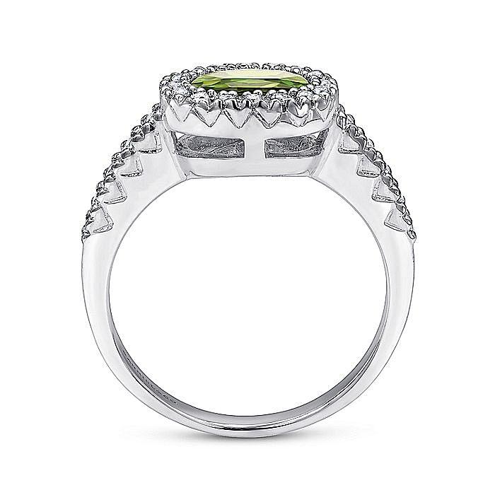 14K White Gold Oval Halo Peridot and Diamond Ring