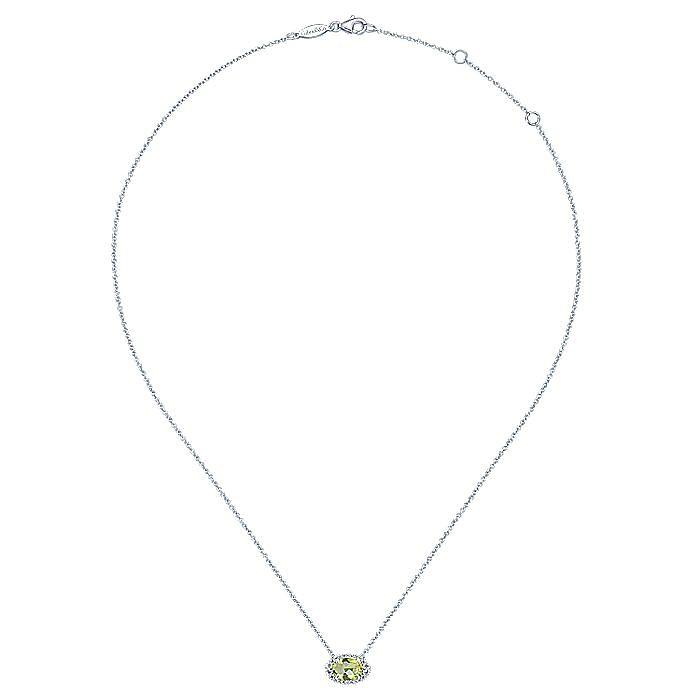 14K White Gold Oval Lemon Quartz and Diamond Halo Pendant Necklace