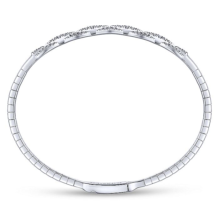 14K White Gold Oval Link Diamond Bangle