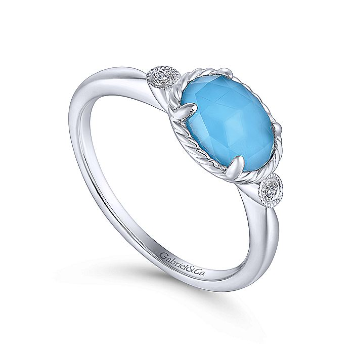 14K White Gold Oval Rock Crystal/Turquoise Diamond Ring