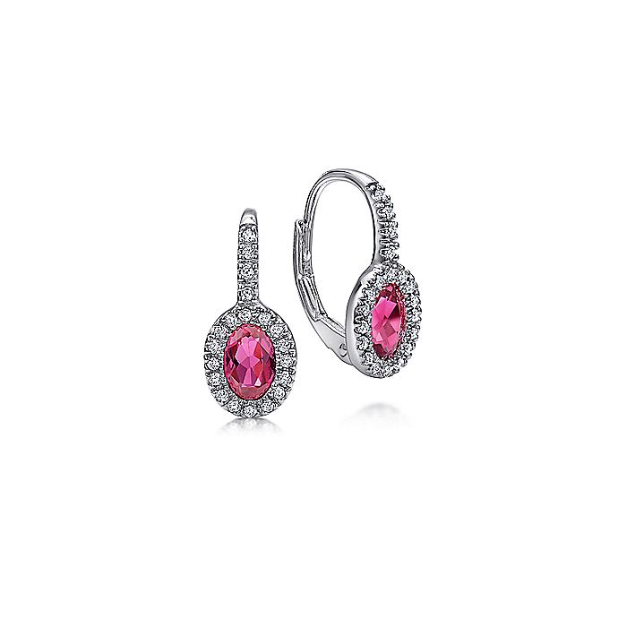 14K White Gold Oval Ruby and Diamond Halo Leverback Earrings