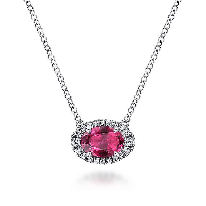 14K White Gold Oval Ruby and Diamond Halo Pendant Necklace