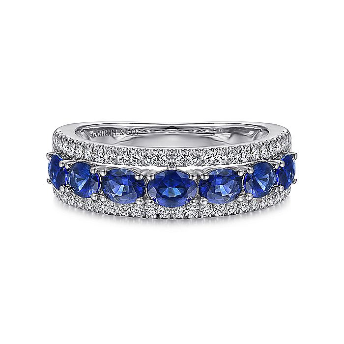 14K White Gold Oval Sapphire and Diamond Band