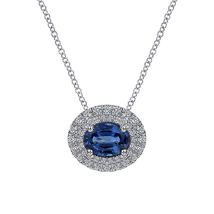 14K White Gold Oval Sapphire and Diamond Double Halo Pendant Necklace