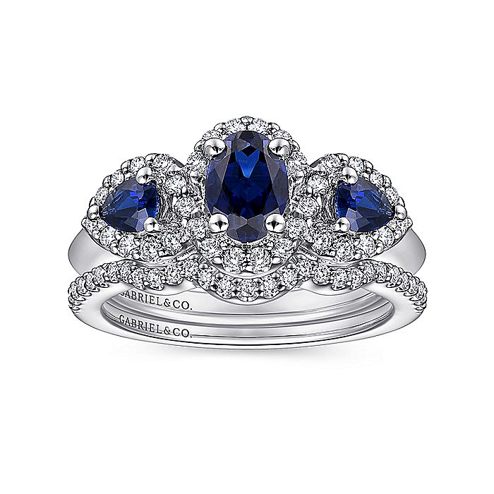14K White Gold Oval Sapphire and Diamond Engagement Ring