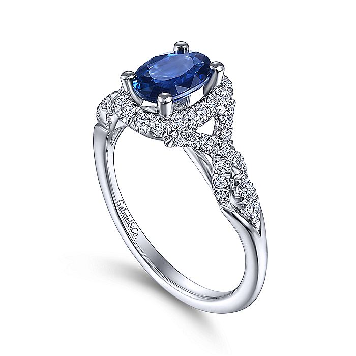 14K White Gold Oval Sapphire and Diamond Halo Ring