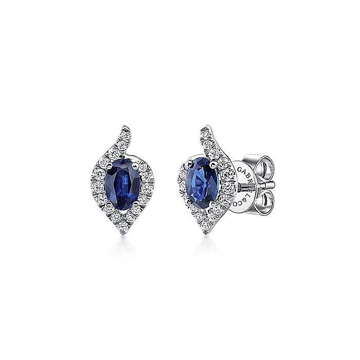 14K White Gold Oval Shape Sapphire and Diamond Halo Stud Earrings