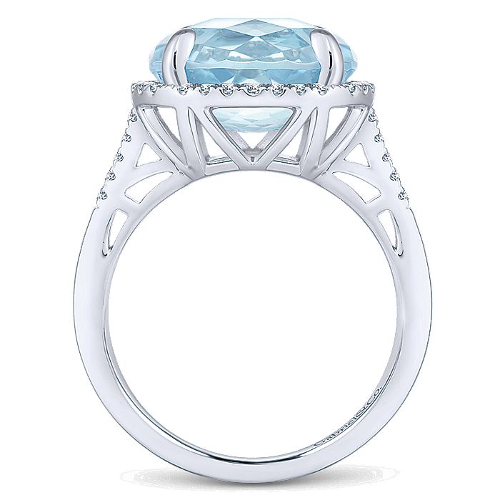 14K White Gold Oval Sky Blue Topaz and Diamond Halo Ring