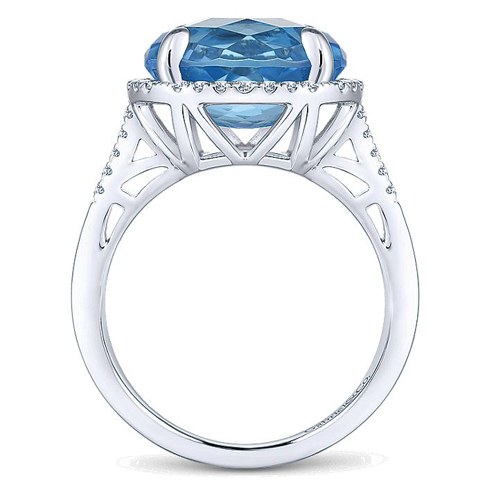 14K White Gold Oval Swiss Blue Topaz and Diamond Halo Ring