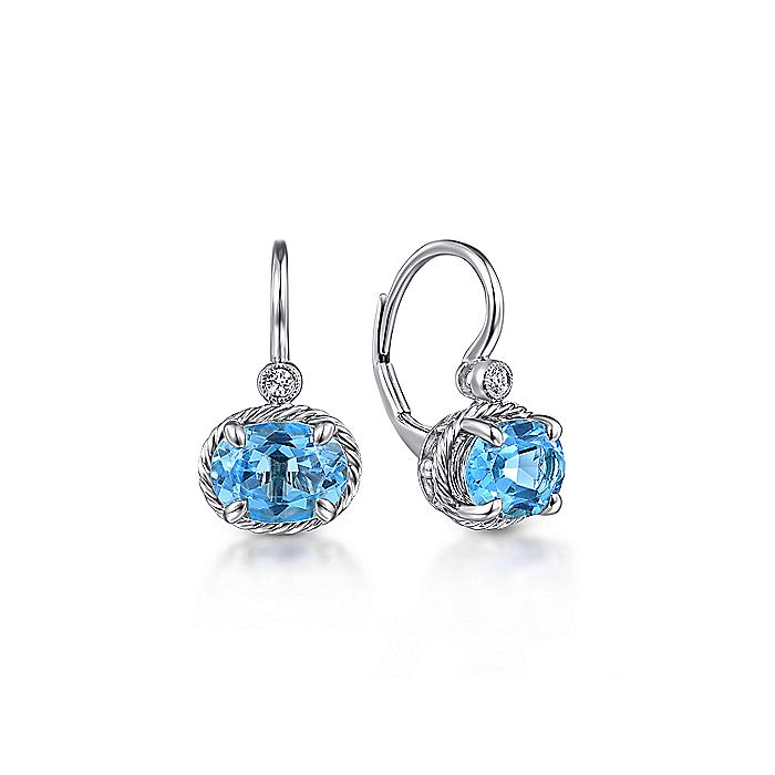 14K White Gold Oval Swiss Blue Topaz and Diamond Leverback Earrings