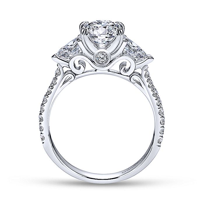 14K White Gold Oval Three Stone Diamond Engagement Ring