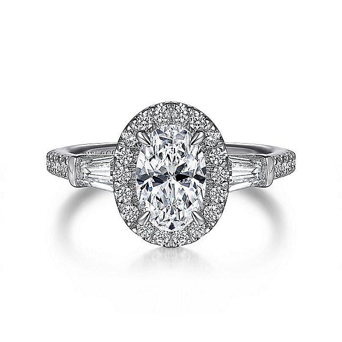 14K White Gold Oval Three Stone Halo Diamond Engagement Ring