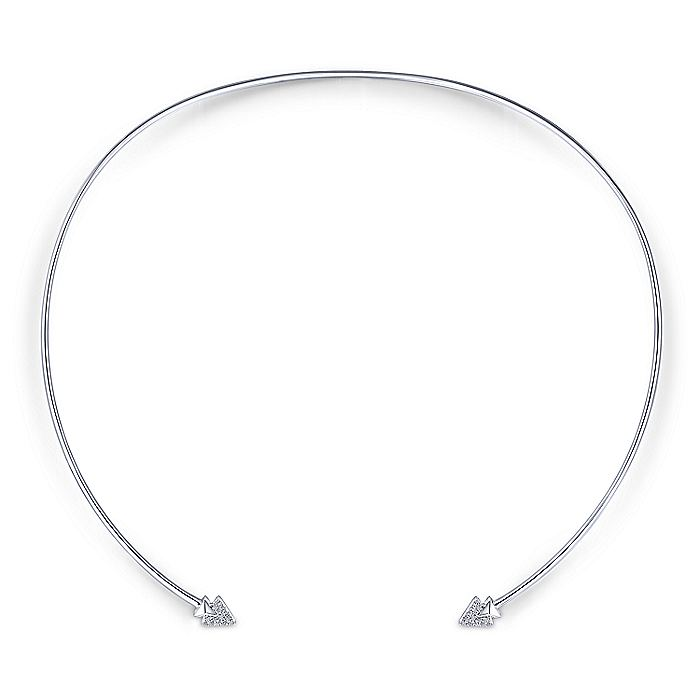 14K White Gold Pavé Diamond Arrow Tipped Open Choker Necklace