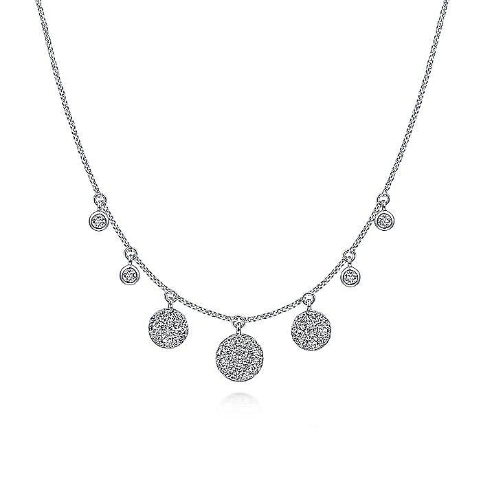 14K White Gold Pavé Diamond Disc Drop Necklace