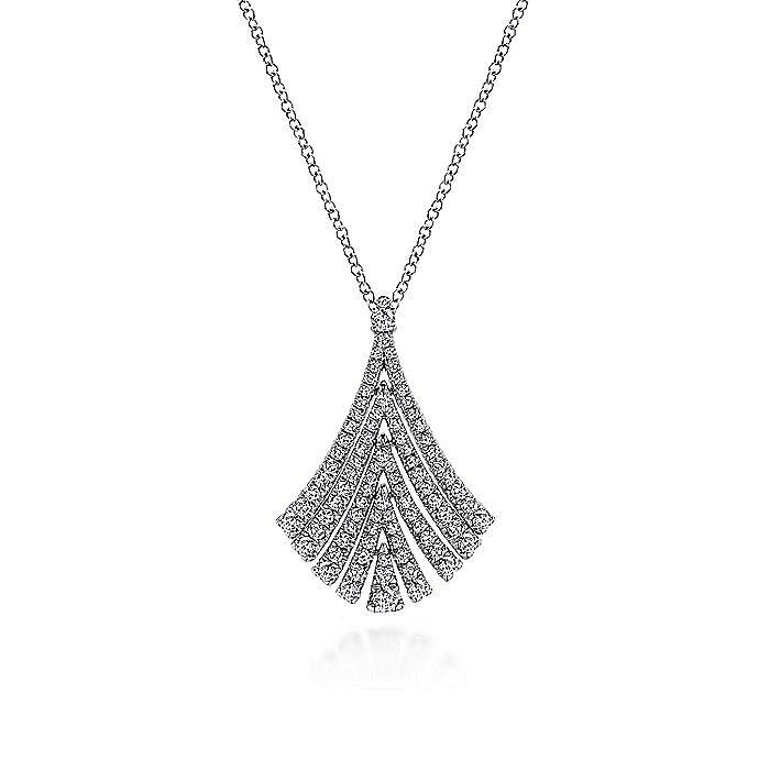 14K White Gold Pavé Diamond Fan Pendant Necklace