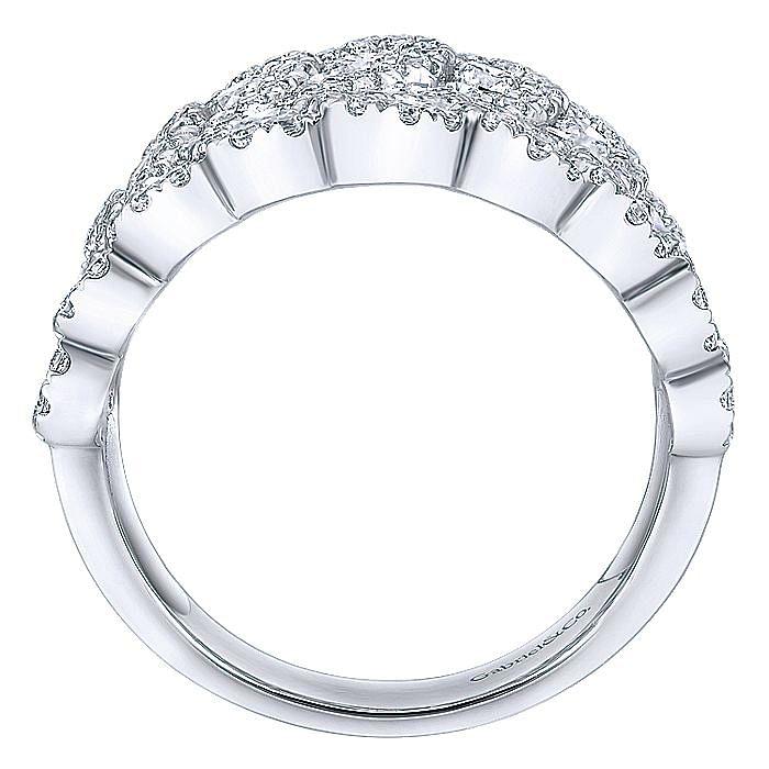 14K White Gold Pavé Diamond Halo Wide Band Statement Ring