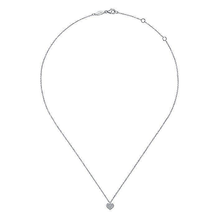 14K White Gold Pavé Diamond Heart Pendant Necklace