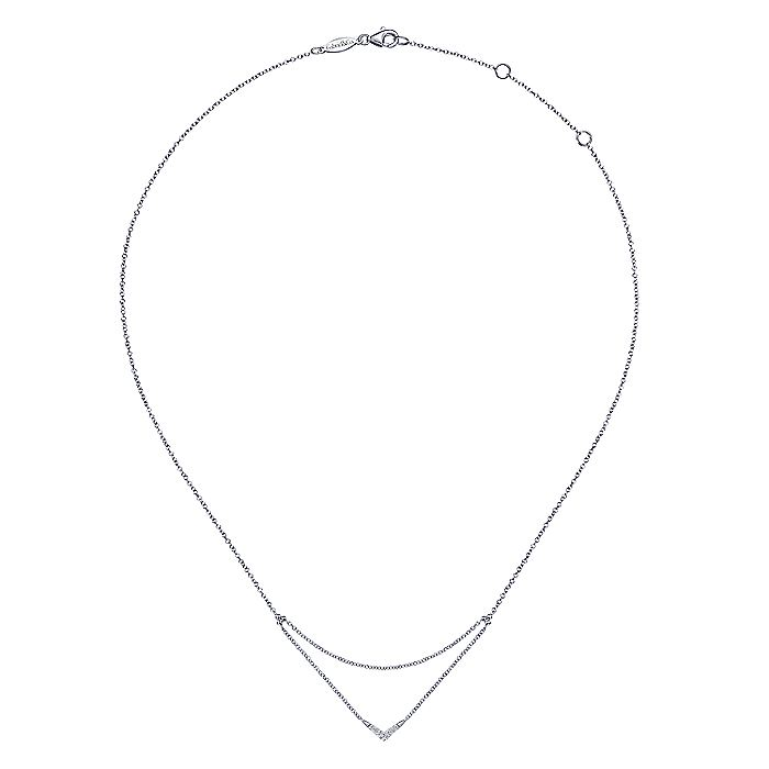 14K White Gold Pavé Diamond Layered Chain V Necklace